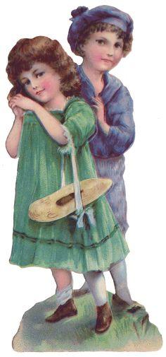 Sentimentalia - Victorian Stickers ~ Glansbilleder > Child Couples ~ Børnepar