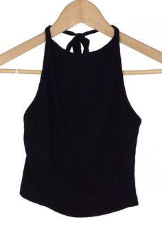 black halter knit crop top