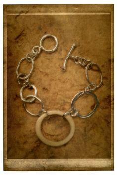 Silver & reindeer antler bracelet. Jewellery made by Tytti Bräysy