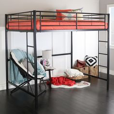 This simple, yet contemporary full-over-loft bunk bed conveys chic style with clean lines and sturdy, steel-crafted frame promises stability and function. Designed with safety in mind, this bunk bed i