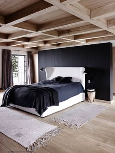 black, white + wood bedroom