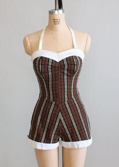 1950s Surf Tog plaid swimsuit