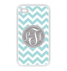 Monogram iPhone 5 Case  Tiffany Blue Chevron by CreateItYourWay, $20.99