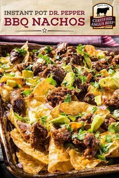 SPICE UP your next party with this easy recipe for Instant Pot Dr. Pepper Barbecue Nachos! Made with the BEST Certified Angus Beef®️️️️️️️️️️️ brand bottom round steak, Dr. Pepper, and a delicious barbecue spice rub, these instant pot nachos are the perfe