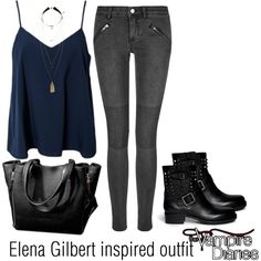 Elena Gilbert inspired outfit/TVD by tvdsarahmichele on Polyvore featuring NLY Trend, BLK DNM, Valentino and H&M