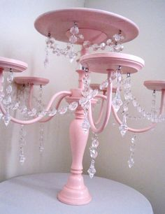 Crystal Chandelier Cake and Cupcake Stand in Baby Pink