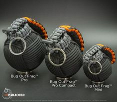We now have three main Bug Out Frags to choose from. The Original Pro (28 tools 45' Paracord, the smaller Pro Compact (25 Tools 35' Paracord) and the Mini (20' Paracord, no integrated kit)
