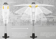 "The outdoor configuration of ""Spiro"" is an umbrella like folding shelter. It affords site-specific air cleaning where passive smoke is a problem in public areas, preventing it from moving into non-smoking areas by creating an air curtain around the perimeter of the umbrella. Because no walls are used, the space under the shelter is unobstructed as the single leg takes up little space."