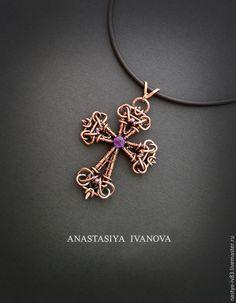 Купить Крест с аметистом - фиолетовый, крест, медный крест, крест с аметистом, подвеска, кулон