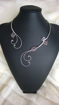 Wire jewelry set Open collar necklace Silver wire necklace