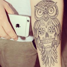 tattooinkspiration's photo on Instagram Two of my favorite things: Owls and sugar skulls!!