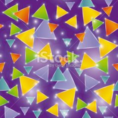 Seamless pattern glowing triangles on a purple background Royalty Free Stock Vector Art Illustration