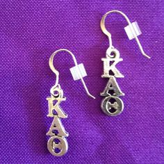 Licensed Kappa Alpha Theta Earrings on Sterling Earwires by AnnPedenJewelry on Etsy