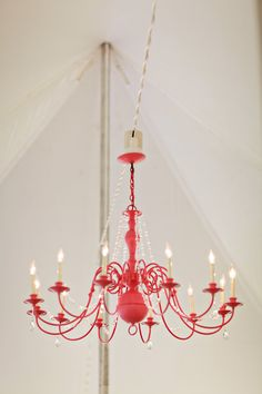 Hot Pink Chandelier (one of the many DIY elements in this wedding)! Painted Chandelier, Pink Chandelier, Vintage Chandelier, Chandelier Wedding, Cheap Chandelier, Pink Laundry Rooms, Hot Pink Weddings, Farm Wedding, Red Wedding