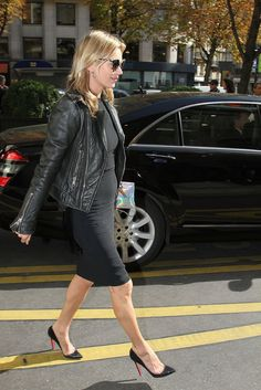 Kate Moss showing us how to rock the Biker Jacket this season at Paris Fashion Week Spring 2013