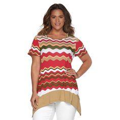 Plus Size Design 365 Wavy Handkerchief Tee, Women's, Size: 1XL, Green Oth
