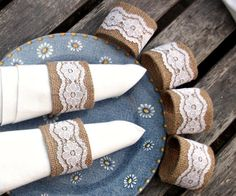 Burlap Napkin Rings with White Vintage Lace - set of  eight--could make a knock off with toliet paper rolls