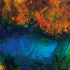 Abstract Acrylic Painting Sunset Over Maui by LiveWaterStudios, $275.00... Sold!
