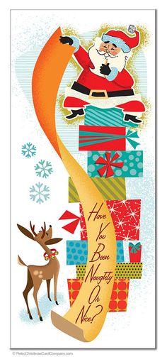 Santa Claus Christmas Cards – Santas List, Package of 8 – Retro Christmas Cards – Christmas DIY Holiday Cards Retro Christmas Tree, Vintage Christmas Images, Old Fashioned Christmas, Christmas Past, Christmas Pictures, Christmas Greetings, Christmas Door, Modern Christmas, Christmas Decorations