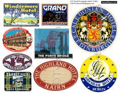 U.K. LUGGAGE STICKERS, Vintage United Kingdom, Scotland, Ireland, Great Britain Travel Luggage Labels and Stickers. Printable Digital 14-464 by TwistedPapers on Etsy https://www.etsy.com/listing/213184324/uk-luggage-stickers-vintage-united