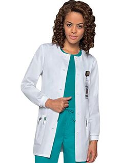 Style Code: (DI-84403) Beyond conventional, this Dickies EDS lab coat features a jewel neckline and button front closure. Its collarless design makes it a stunner on its own. It also has long slender sleeves with knit cuffs that keep the sleeves in place, rolled up or down. Two roomy front patch pockets with additional sectional pockets at the right patch pocket are featured.
