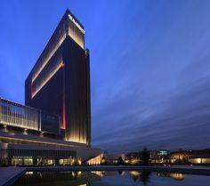 """JW Marriott Hotel, Ankara, Turkey- """"Right Light, Right Place, Right Time"""" ™ Facade Lighting, Exterior Lighting, Lighting Design, Building Elevation, Building Exterior, Light Tunnel, Hotel Concept, Tower Design"""