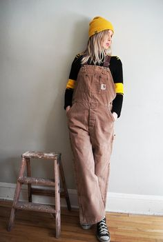 Vintage Carhartt Bib Overalls - Insulated Work Wear - Brown with Red  Insulated Lining 0cd7936680a4