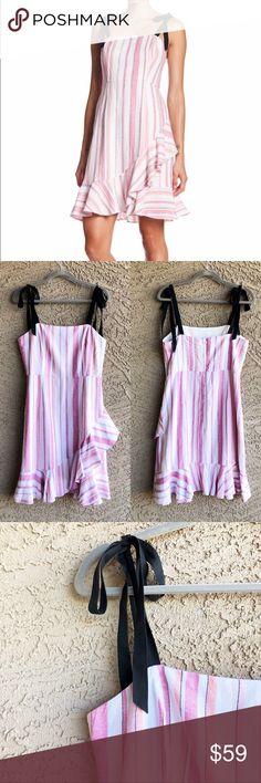 43c4cda541 DONNA MORGAN ✨NWOT✨ Striped Linen Ruffle Dress DONNA MORGAN Striped Linen  Blend Ruffle Dress