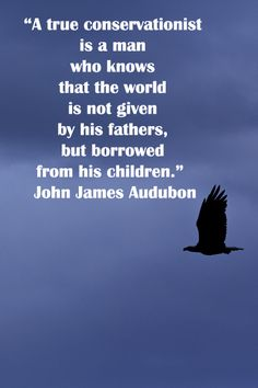 """""""A true conservationist is a man who knows that the world is not given by his fathers, but borrowed from his children.""""  John James Audubon -- Enjoy nature quotes at http://www.examiner.com/article/twelve-essential-nature-quotations"""
