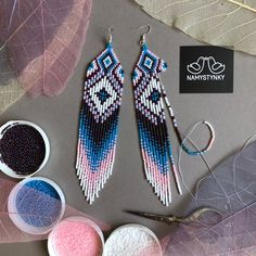 Beaded Earrings Native, Beaded Earrings Patterns, Beaded Bracelets, Beaded Jewelry Designs, Seed Bead Patterns, Seed Bead Jewelry, Seed Bead Earrings, Dangle Earrings, Fringe Earrings