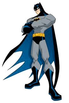 BATMAN gray and blue outfit clipart with defiant pose.