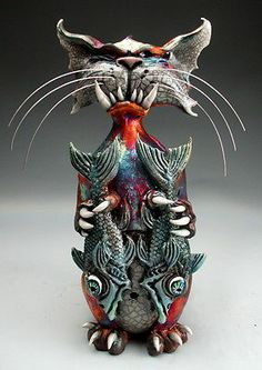 Cat and 2 Fish raku pottery folk art sculpture by face jug maker Grafton Ceramic Fish, Ceramic Animals, Ceramic Clay, Raku Pottery, Pottery Art, 3d Studio, Paperclay, Cat Art, Rockabilly