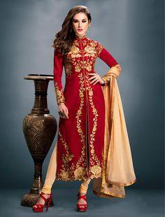 Banglori Silk Zari Work Red Semi Stitched Churidar Suit - 1405