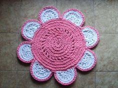 alfombra de flor alfombra totora textil tejido crochet