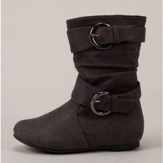 Grey Buckle Boots