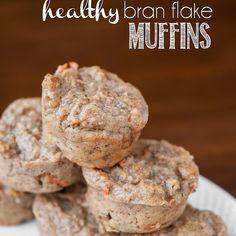 Healthy Bran Flake Muffins Recipe Breakfast and Brunch, Breads with bran flakes, nonfat greek yogurt, buttermilk, applesauce, carrots, eggs, honey, vanilla extract, whole wheat flour, baking soda, baking powder, pumpkin pie spice, salt, walnuts