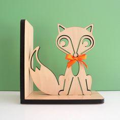 Fox Bookend: Wood Modern Baby Nursery Children                                                                                                                                                                                 Más