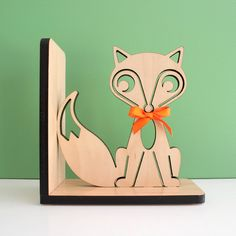 Fox Bookend Wood Modern Baby Nursery Children by graphicspaceswood, $48.00