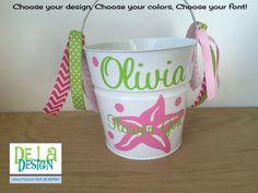 Personalized Flower Girl basket 2 quart metal bucket by DeLaDesign
