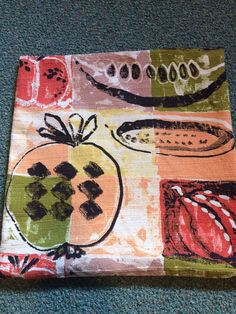 "Retro Vintage Pillow Cover w Zipper 16"" x 16"" Vegetables ~ Garden Theme~ Tomatoe ~ Watermelon ~  UPcycled Tablecloth ~ Cotton ~ Fun! by ArtThatCooks on Etsy"