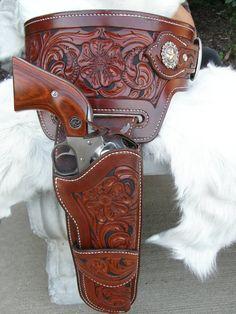 Custom Hand Tooled Leather Buscadero Gun Belt/ by GardnersWorkshop