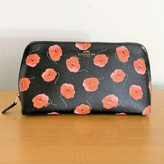 e0ea0578372b Details about COACH Cosmetic Case Large Makeup Pouch ~ Black Poppy Print ~  New NWT F39076