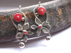 Silver Coral  Earrings  Hollowform Sterling by rioritajewelry, $99.00