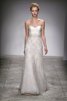 "Kenneth Pool ""Estelle"" Hand Beaded A Line Gown with Asymmetrical Organza Bodice"