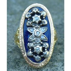 Antique Rare early French Secret Poison Ring ❤ liked on Polyvore featuring jewelry, rings, antique jewelry, 18k jewelry, antique jewellery, floral jewelry and blue ring