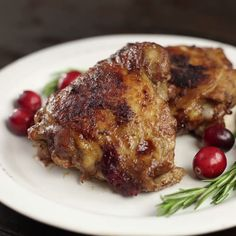 Baked with rosemary and tart cranberries, this marinated chicken dish is simple and tasty.