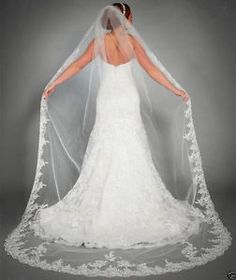 1 Layer White Ivorybridal Cathedral Veil Lace Edge Bridal Wedding Veil with Comb | eBay