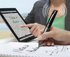 Livescribe Sky WiFi Smartpen... so cool.  tracks notes and records voice, links all together and uploads so you can click over a section and hear it.