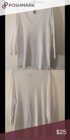 "Chico's white, long top. 54% silk, 24% nylon, 22% rayon. V-neck. 3/4 length sleeve, 27"" long. Washable. Never worn. Chico's Tops Tunics"