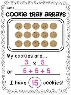 Math Standard 3.OA.1 The student will interpret products of whole numbers. After teaching my students arrays, I will have them make some Cookie Tray Arrays: Students will draw a rectangular array of cookies on the cookie sheet and color their picture. Then, they answer the questions about their cookie array.